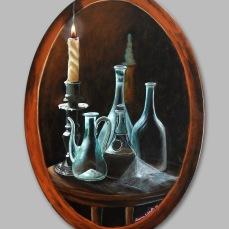 'A lume di candela' - Acrilici e olio su tela ovale 50x70 - 2013