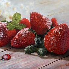 'Le rosse' - Acrilici e olio su tela 70x50 - 2016