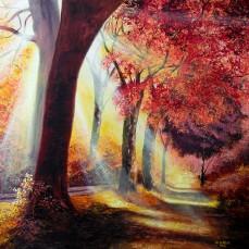 'Una strada nel bosco' - Acrilici e olio su tela 100x70 - 2015
